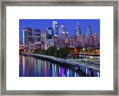 Framed Print featuring the photograph Colorful Philly Night Lights by Frozen in Time Fine Art Photography