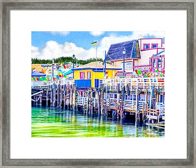 Colorful Pier In Monterey California Framed Print by Mark E Tisdale