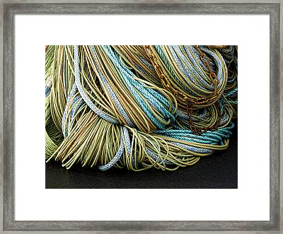 Colorful Pile Of Fishing Nets And Ropes Framed Print by Carol Leigh