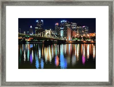 Colorful Pittsburgh Lights Framed Print