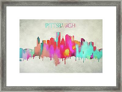 Colorful Pittsburgh Skyline Silhouette Framed Print by Dan Sproul
