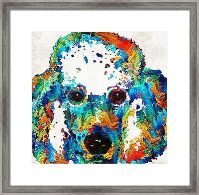 Colorful Poodle Dog Art By Sharon Cummings Framed Print by Sharon Cummings