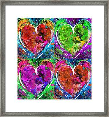 Colorful Pop Hearts Love Art By Sharon Cummings Framed Print by Sharon Cummings