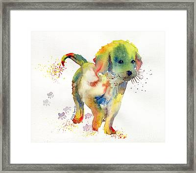 Colorful Puppy Watercolor - Little Friend Framed Print by Melly Terpening