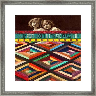 Colorful Quilt Little Girls Sleep Quote  Framed Print