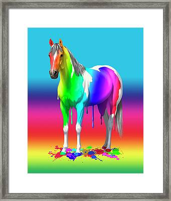 Colorful Rainbow Paint Horse Framed Print by Crista Forest