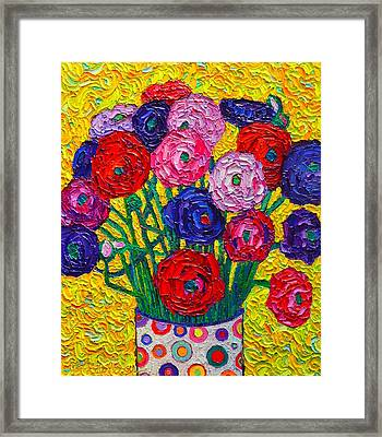 Colorful Ranunculus Flowers In Polka Dots Vase Palette Knife Oil Painting By Ana Maria Edulescu Framed Print