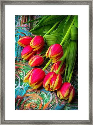 Colorful Red And Yellow Tulips Framed Print