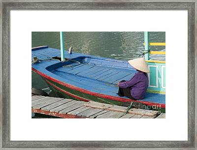 Colorful River Boat And Woman Framed Print