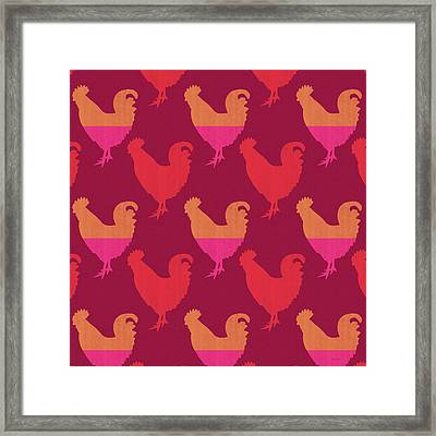 Colorful Roosters- Art By Linda Woods Framed Print by Linda Woods