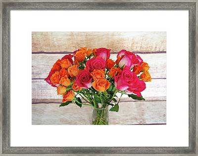 Colorful Rose Bouquet Framed Print