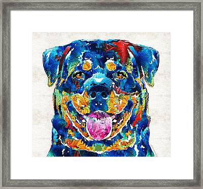 Colorful Rottie Art - Rottweiler By Sharon Cummings Framed Print
