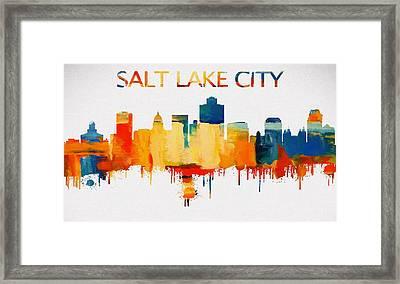 Colorful Salt Lake City Skyline Silhouette Framed Print by Dan Sproul