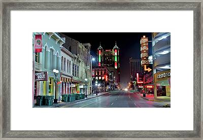 Colorful San Antonio Night Framed Print by Frozen in Time Fine Art Photography