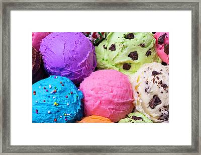 Colorful Scoops Of Ice Cream Framed Print by Garry Gay