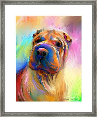 Colorful Shar Pei Dog Portrait Painting  Framed Print