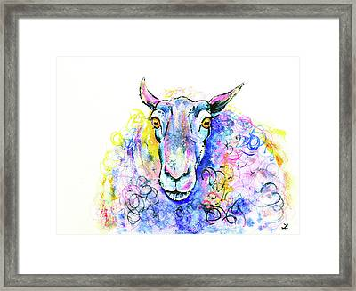 Framed Print featuring the painting Colorful Sheep by Zaira Dzhaubaeva