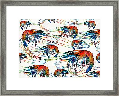 Colorful Shrimp Collage Art By Sharon Cummings Framed Print by Sharon Cummings