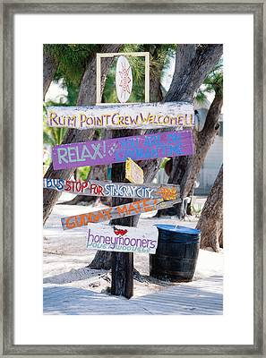 Colorful Signs At Rum Point Grand Cayman Island Framed Print by George Oze