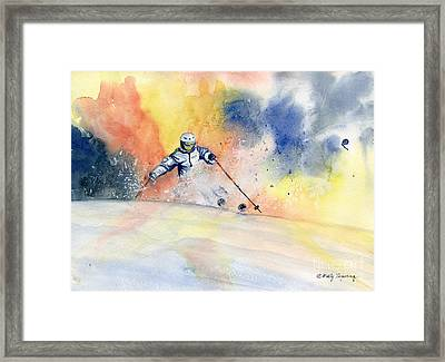 Colorful Skiing Art 2 Framed Print by Melly Terpening