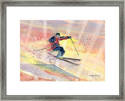 Colorful Skiing Art Framed Print by Melly Terpening
