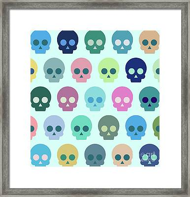 Colorful Skull Cute Pattern Framed Print