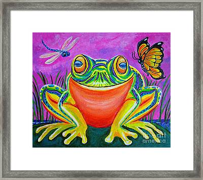 Colorful Smiling Frog-voodoo Frog Framed Print by Nick Gustafson