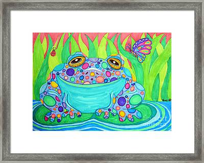 Colorful Spotted Frog Framed Print by Nick Gustafson