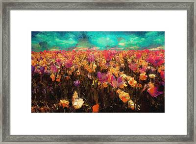 Colorful Spring Flowers Field Landscape Painting Framed Print by Wall Art Prints
