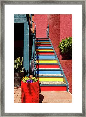 Framed Print featuring the photograph Colorful Stairs by James Eddy