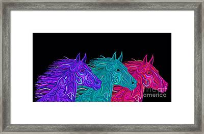 Framed Print featuring the drawing Colorful Stallions  by Nick Gustafson