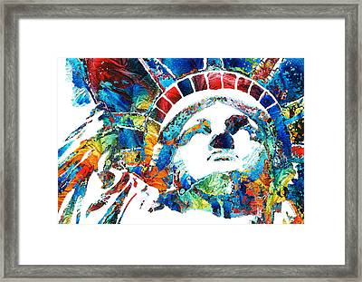 Colorful Statue Of Liberty - Sharon Cummings Framed Print by Sharon Cummings