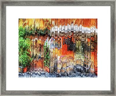 Colorful Street Cafe Framed Print