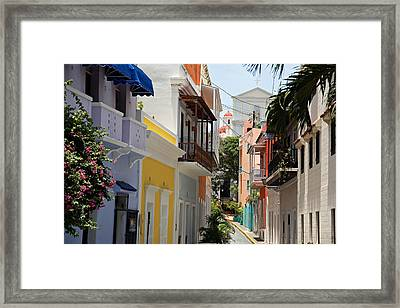 Colorful Streets Of Old San Juan Framed Print by George Oze