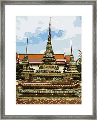 Colorful Stupas At Wat Pho Framed Print