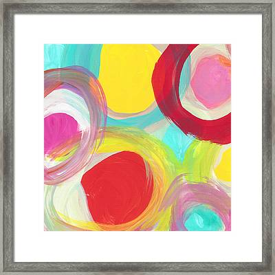 Colorful Sun Circles Square 1 Framed Print