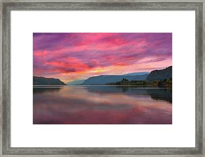 Colorful Sunrise At Columbia River Gorge Framed Print by David Gn