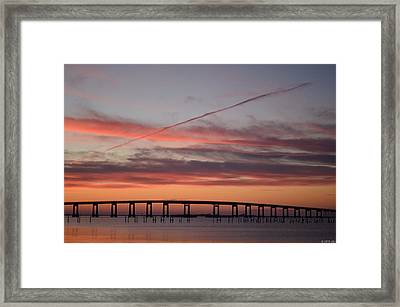 Colorful Sunrise Over Navarre Beach Bridge Framed Print