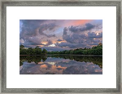 Framed Print featuring the photograph Colorful Sunset At The Lake by Lori Coleman