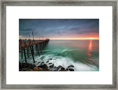 Colorful Sunset At The Oceanside Pier Framed Print by Larry Marshall