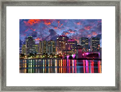 Colorful Sunset Over Downtown West Palm Beach Florida Framed Print