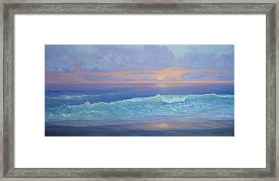 Cape Cod Colorful Sunset Seascape Beach Painting With Wave Framed Print