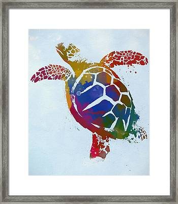 Colorful Swimming Sea Turtle Framed Print