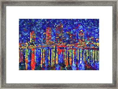 Colorful Tampa Bay Skyline Framed Print by Dan Sproul