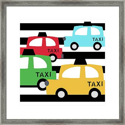 Colorful Taxis- Art By Linda Woods Framed Print