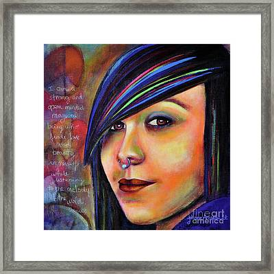 Colorful Teen An Artistic Representation Of A Colorful Daughter Framed Print by Johane Amirault