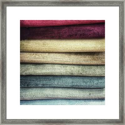 Colorful Textiles Background Framed Print by Tom Gowanlock
