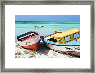 Colorful Traditional Fishing Boats Framed Print by George Oze