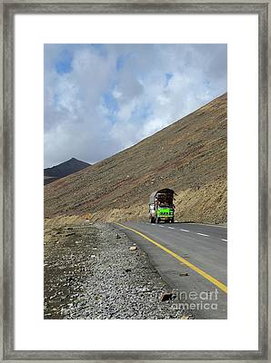 Colorful Truck On Karakoram Highway Amid Mountains Babusar Pass Pakistan Framed Print by Imran Ahmed