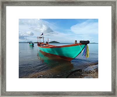 Colorful Turquoise Boat Near The Cambodia Vietnam Border Framed Print